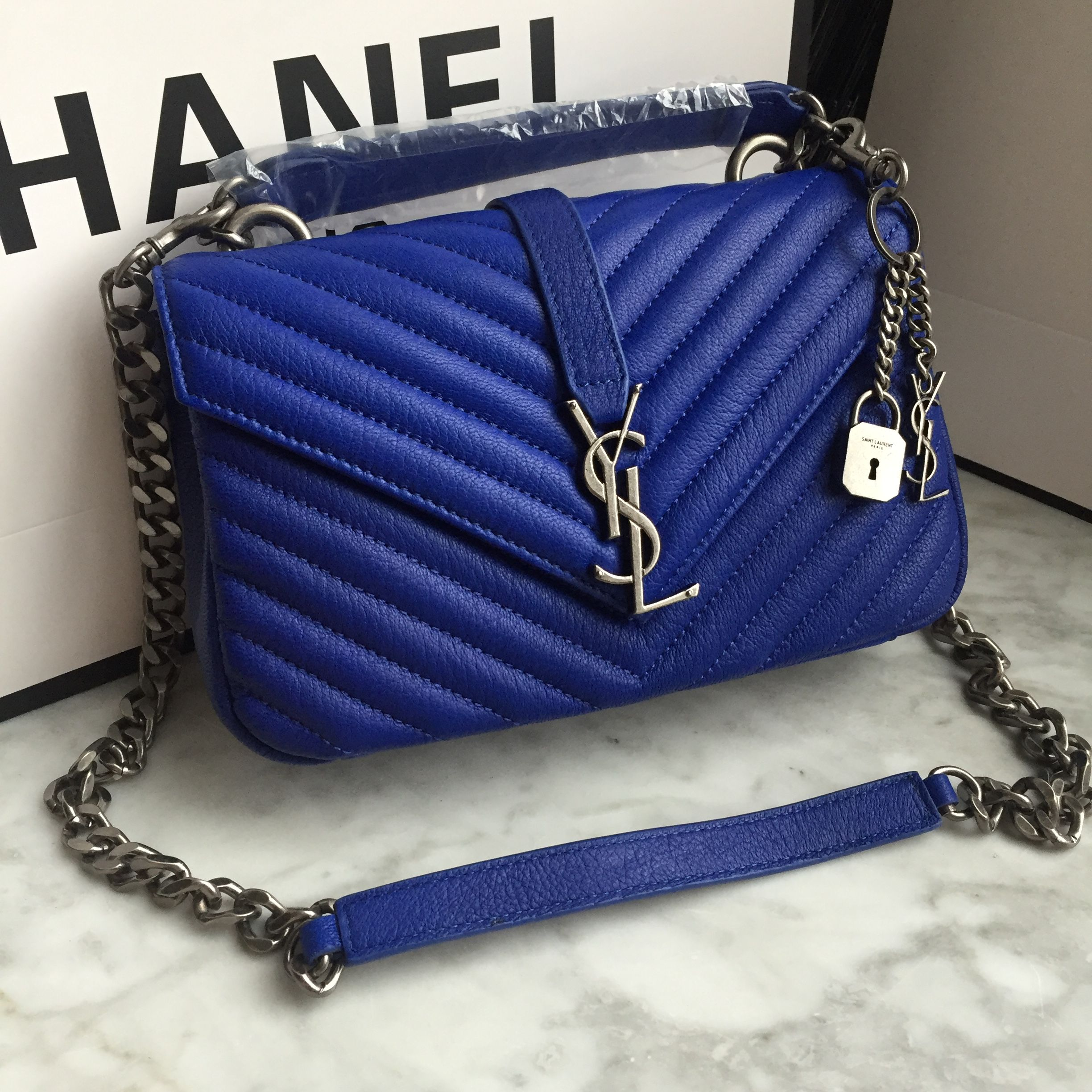 YSL Saint Laurent slp college bag deerskin blue  27c372f986d31