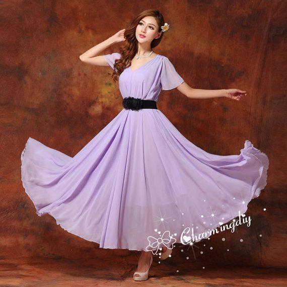 60 colors chiffon light purple long party dress short for Light purple dresses for weddings