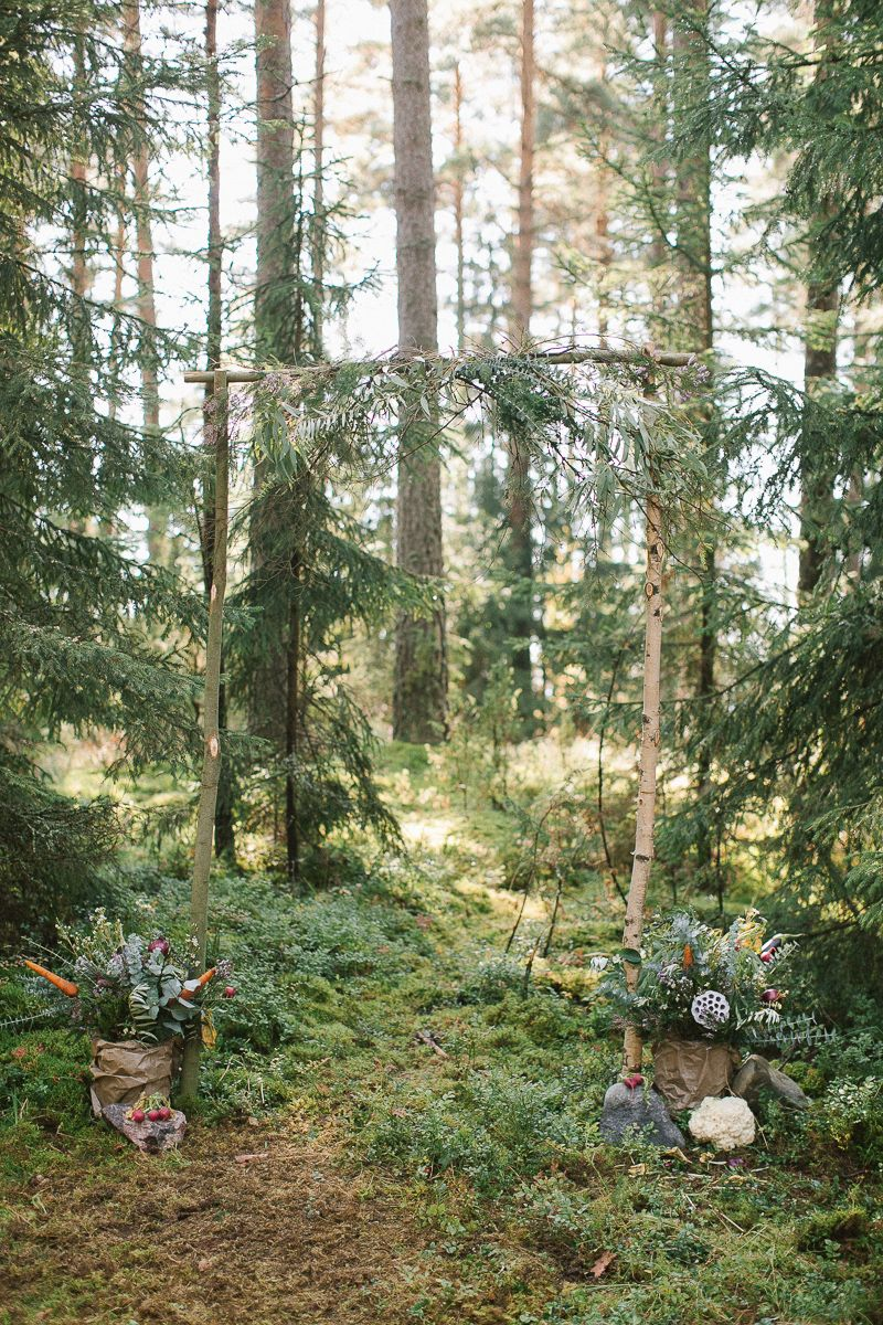 Neutral eco friendly wedding in the forest | Eco friendly Wedding Arch Wedding decoration | fabmood.com #wedding #neturalwedding #ecofriendlywedding