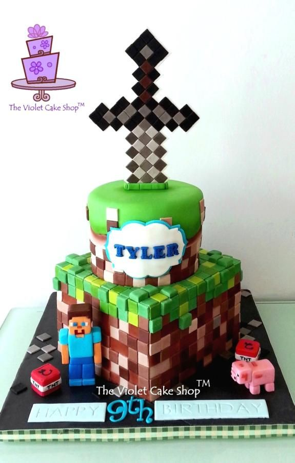 Pleasant 2 Tier Minecraft With Sword Topper For Tyler By The Violet Cake Personalised Birthday Cards Paralily Jamesorg