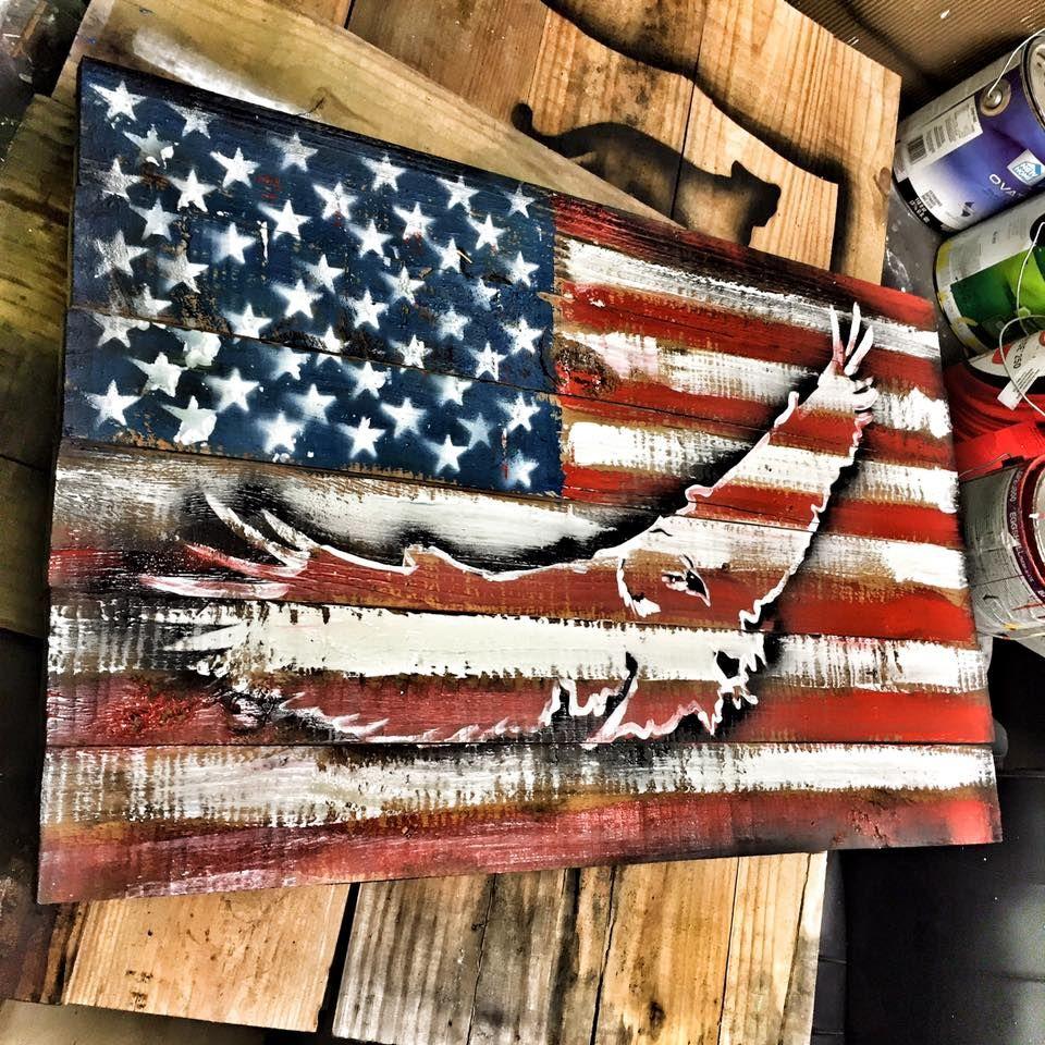 Eagle Outline w/ US Flag Background | American flag wood ...