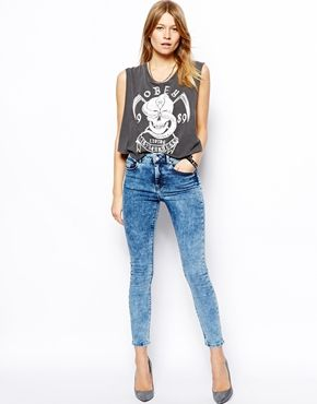 c0a46f5884 ASOS Ridley High Waist Ultra Skinny Ankle Grazer Jeans in Light Acid Wash  Blue - Acid blue