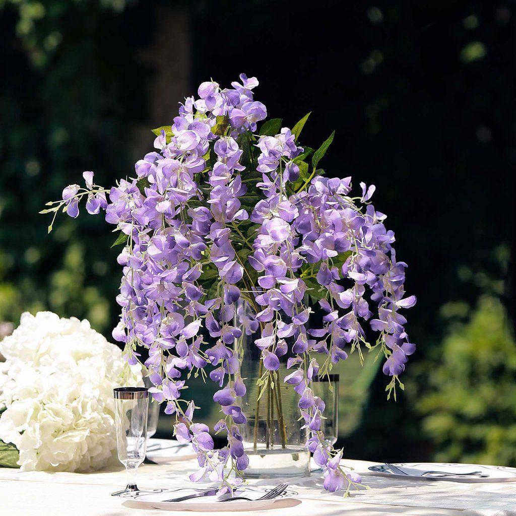 5 Bushes 44 Artificial Wisteria Vine Ratta Silk Hanging Flower Garland Purple In 2020 Simple Wedding Flowers Flower Garlands Diy Wedding Flowers