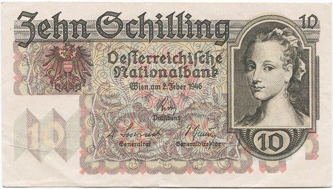10 Schilling 1946 Frauenportrait Banknoten Pinterest Money