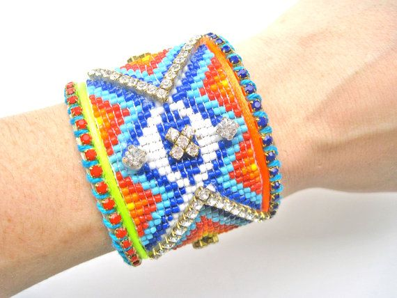 Native American beadwork cuff bracelet  by distinguishedesigns, $115.00