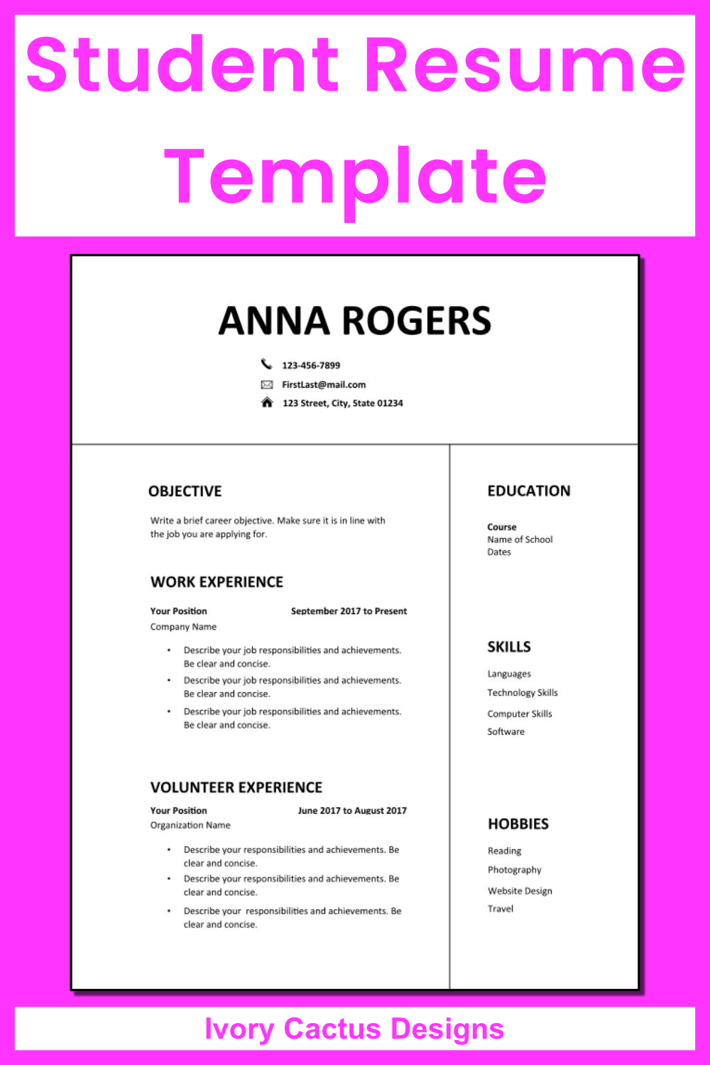 Resume Template Word First Job Cv Template One Page Resume High School Student Teenagers Professional Clean Modern Simple Anna Student Resume Template Resume Template Word Resume Template Student resume template microsoft word