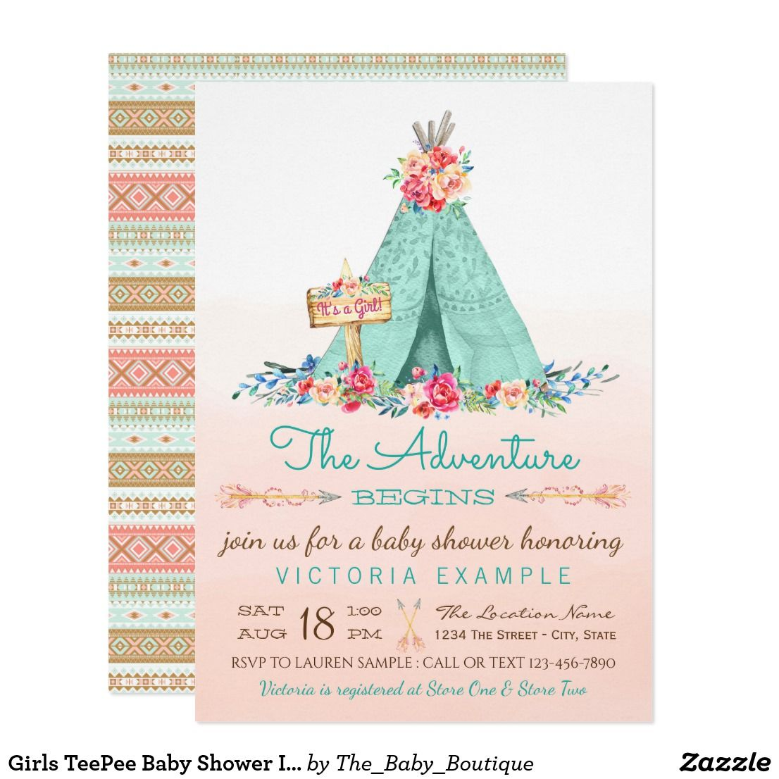 Girls TeePee Baby Shower Invitations | Tribal background and Shower ...