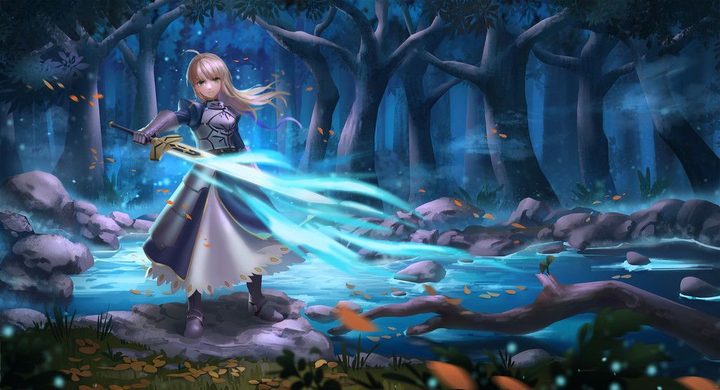 Saber Of Blue Anime Girl Fate Stay Night Wallpaper