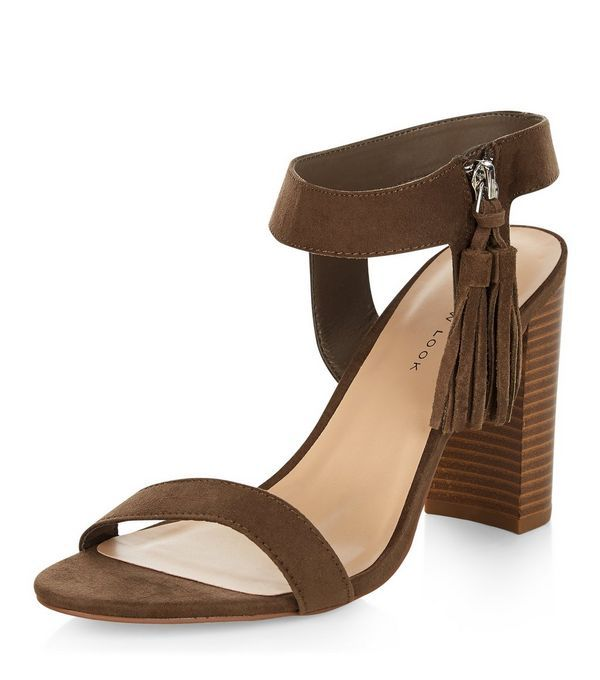 7053f41debd Wide Fit Khaki Suedette Tassel Trim Block Heel Sandals