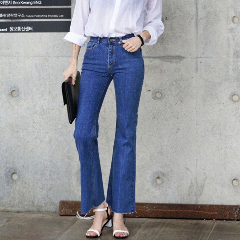Vintage High Waist Elastic Bell Bottom Jeans 2016 Women Ankle-Length Denim  Flare Pants Korean