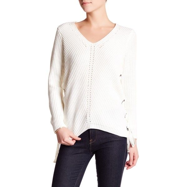John & Jenn V-Neck Side Lace-Up Knit Sweater ($40) ❤ liked on Polyvore featuring tops, sweaters, winter white, white top, v neck knit sweater, long sleeve knit tops, lace up top and long sleeve v neck sweater