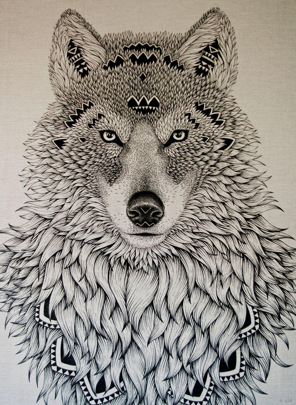 Los murales tatuados de alex marine mandalas lobos y tatuajes - Tatouage loup mandala ...