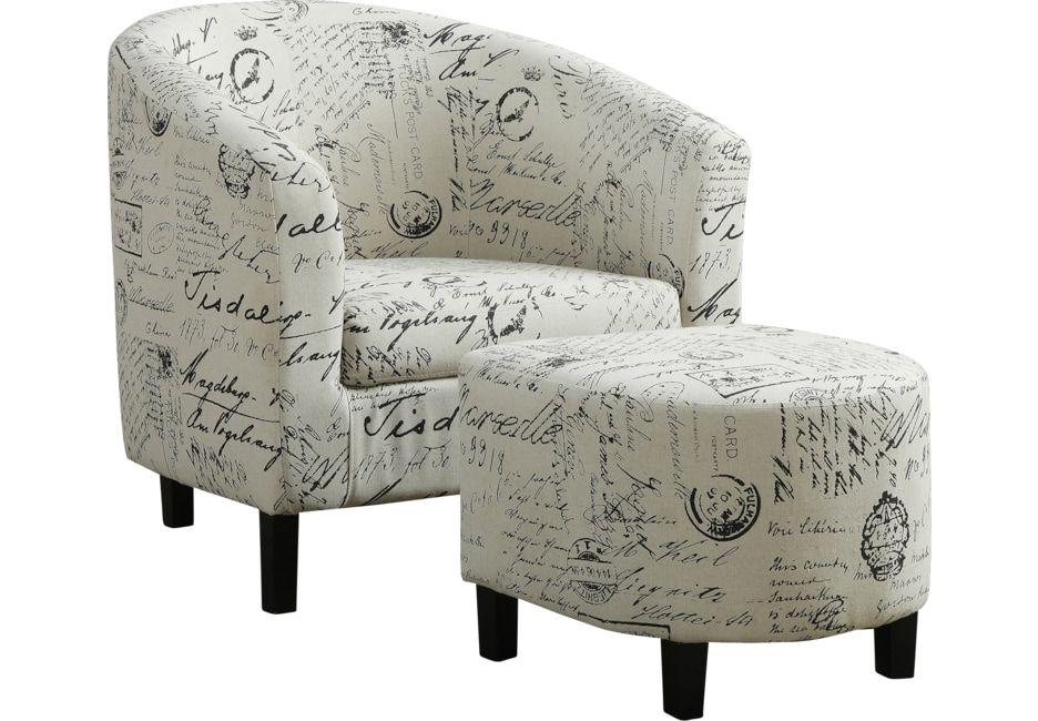 Ferncroft Beige Accent Chair Ottoman Chair Ottoman Chair