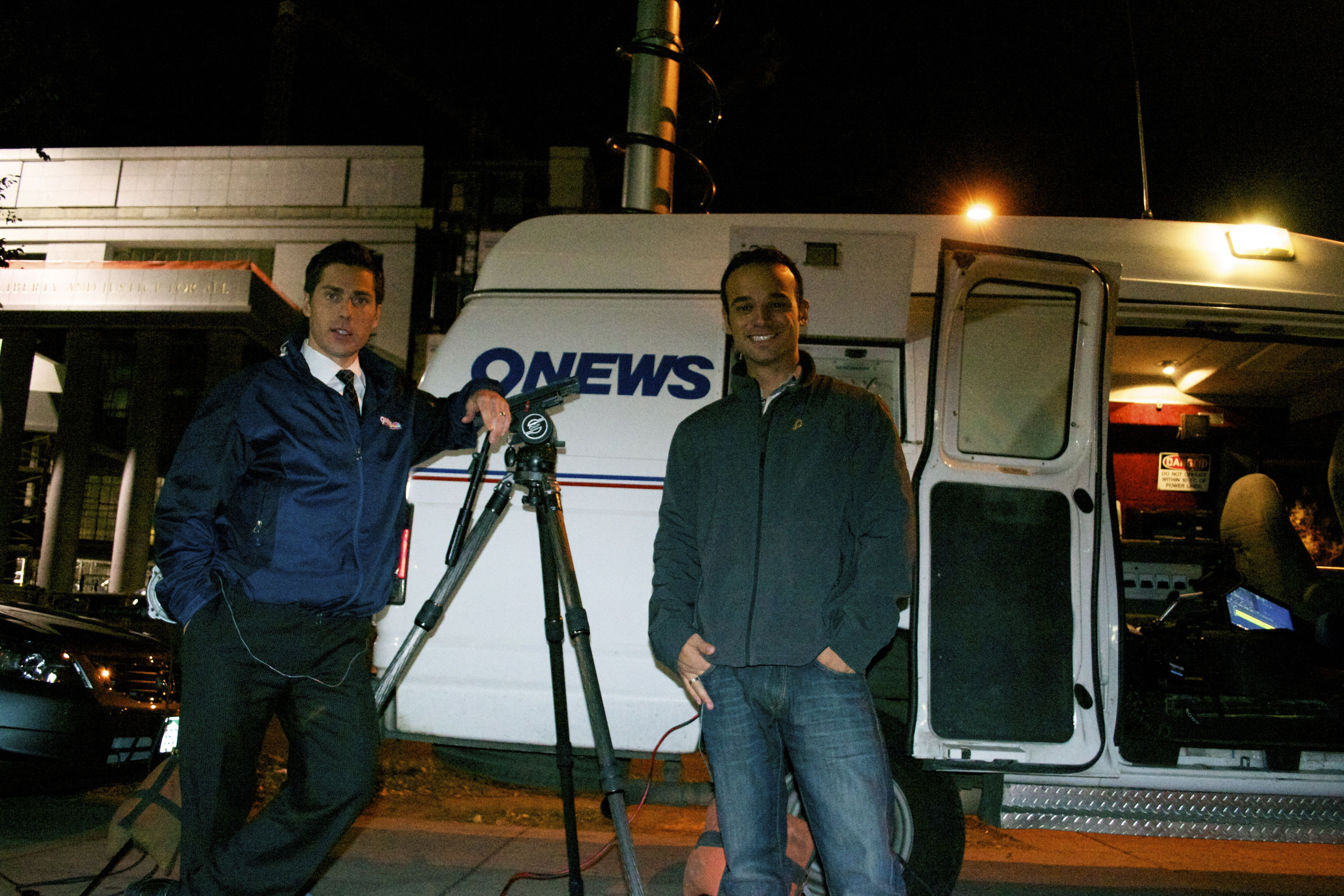 Out on a live shot with 9NEWS Reporter Eric Kahnert   Fun