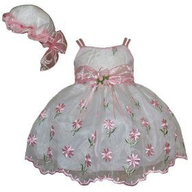 Nice Baby Dress: Newborn Girl Dress - Pink Flower Embroidery on ...
