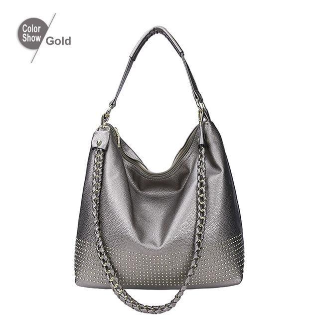 ef5f3c28023d RoyaDong Famous Brand 2018 New Hobos Women Bags Rivet Female Handbags  Shoulder Bag Lady Big Handbag