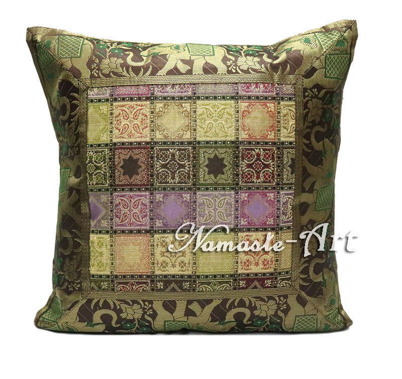 40'' Indian Silk Brocade Art Throw Decorative Ethnic Boho Cushion Fascinating Indian Silk Decorative Pillows