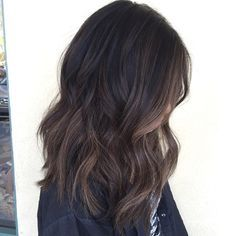 Babylights dark virgin hair with a soft balayage , hairpainting