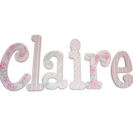 Rosenberry Rooms has everything imaginable for your child's room! Share the news and get $20 Off  your purchase! (*Minimum purchase required.) Claire Pink Roses Hand Painted Wall Letters #rosenberryrooms