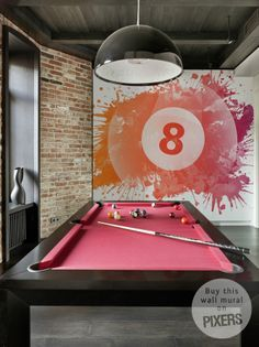 Eight Ball Industrial Gamers Room Pixers We Live To Change - Pink pool table felt