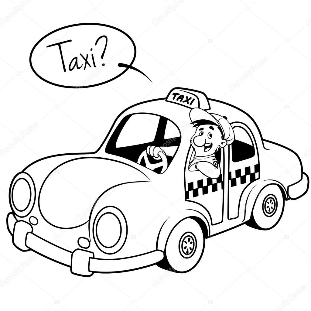 1024x1024 Taxi Driver In The Car Outline On A White Background Stock Cars Characters Outline Car