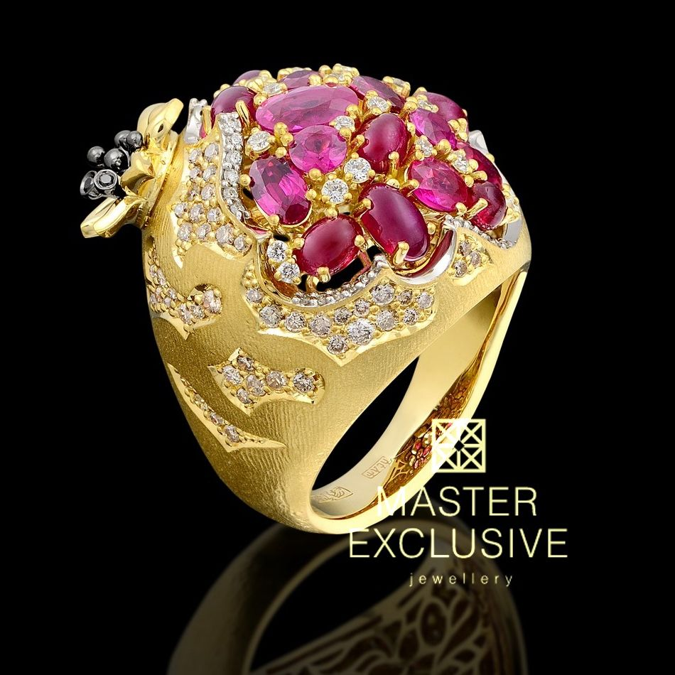 Ring from the collection Fruits and berries. 18K yellow gold, diamonds, black diamonds, champagne color diamonds, rubies.