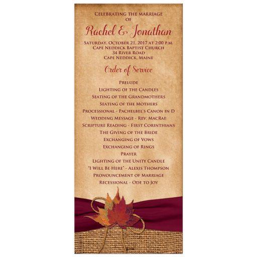 Rustic Aged Paper Look Wedding Program