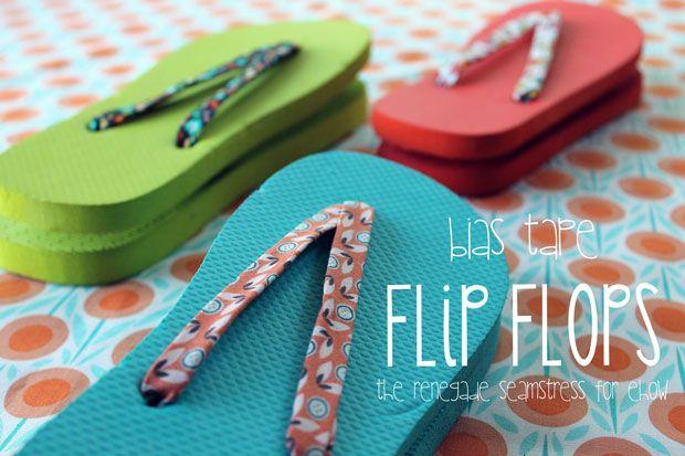 DIY bias tape flip flops