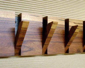 Wall Coat Hanger 4 Hooks Wood By HechoEnCasaTaller
