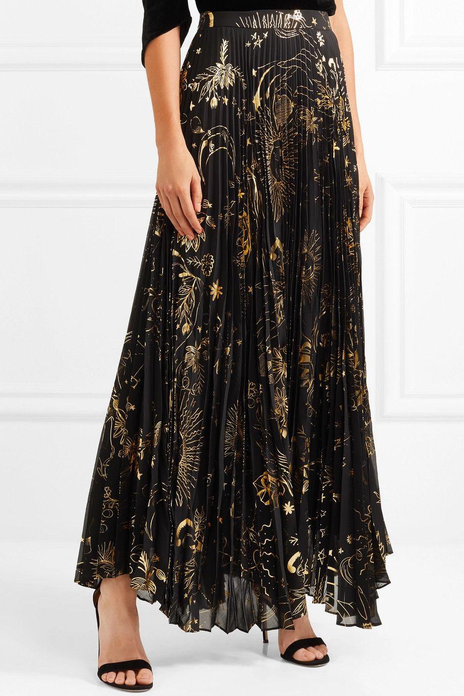 f1399e13c8ec Alice + Olivia - Shannon pleated metallic printed chiffon maxi skirt ...