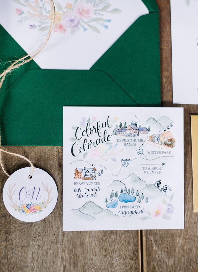 Caity Nate Map Wedding Invitation Mountain Wedding Invitations