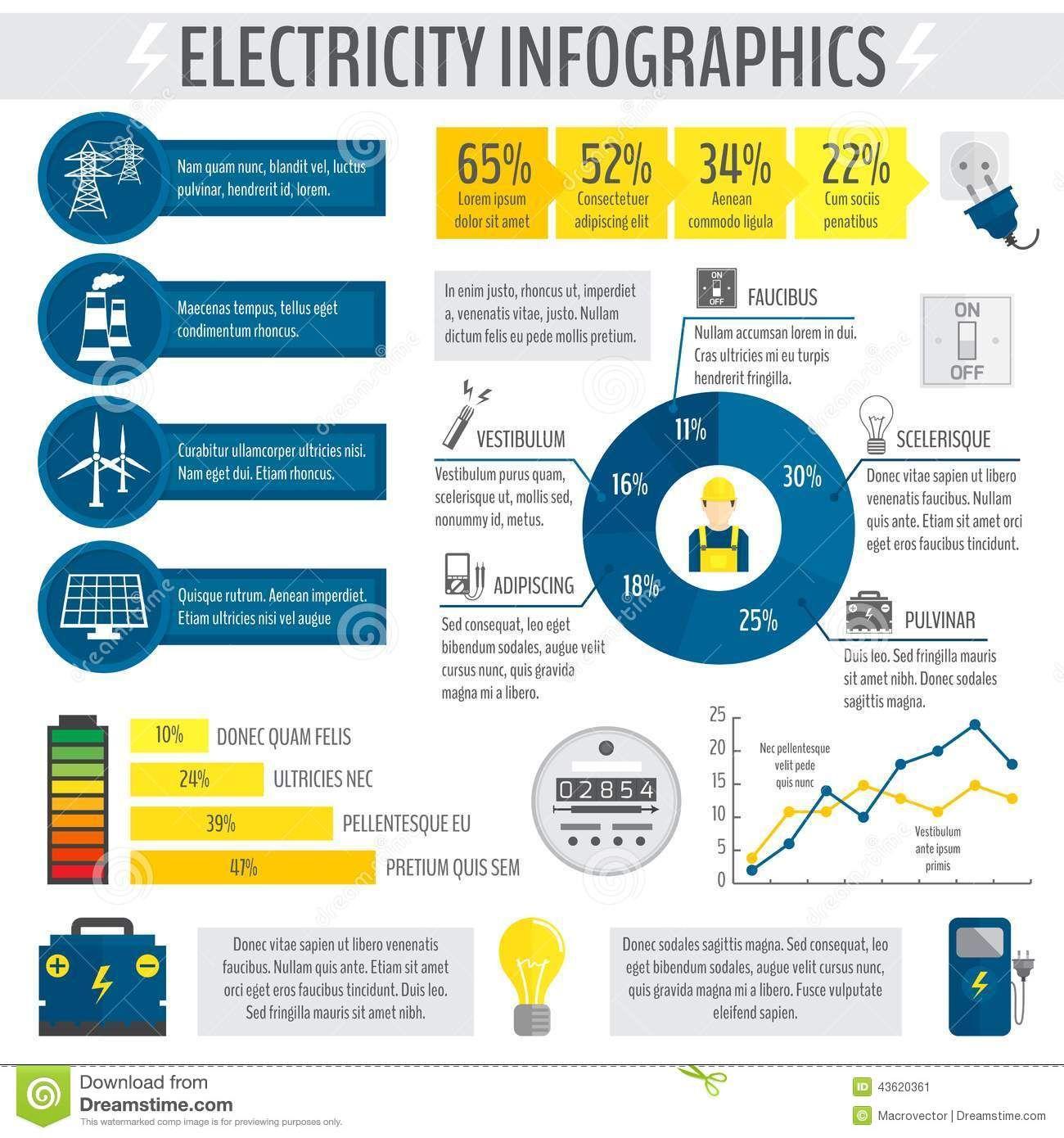 ElectricityInfographicEnergyAccumulatorIndustryTemplate