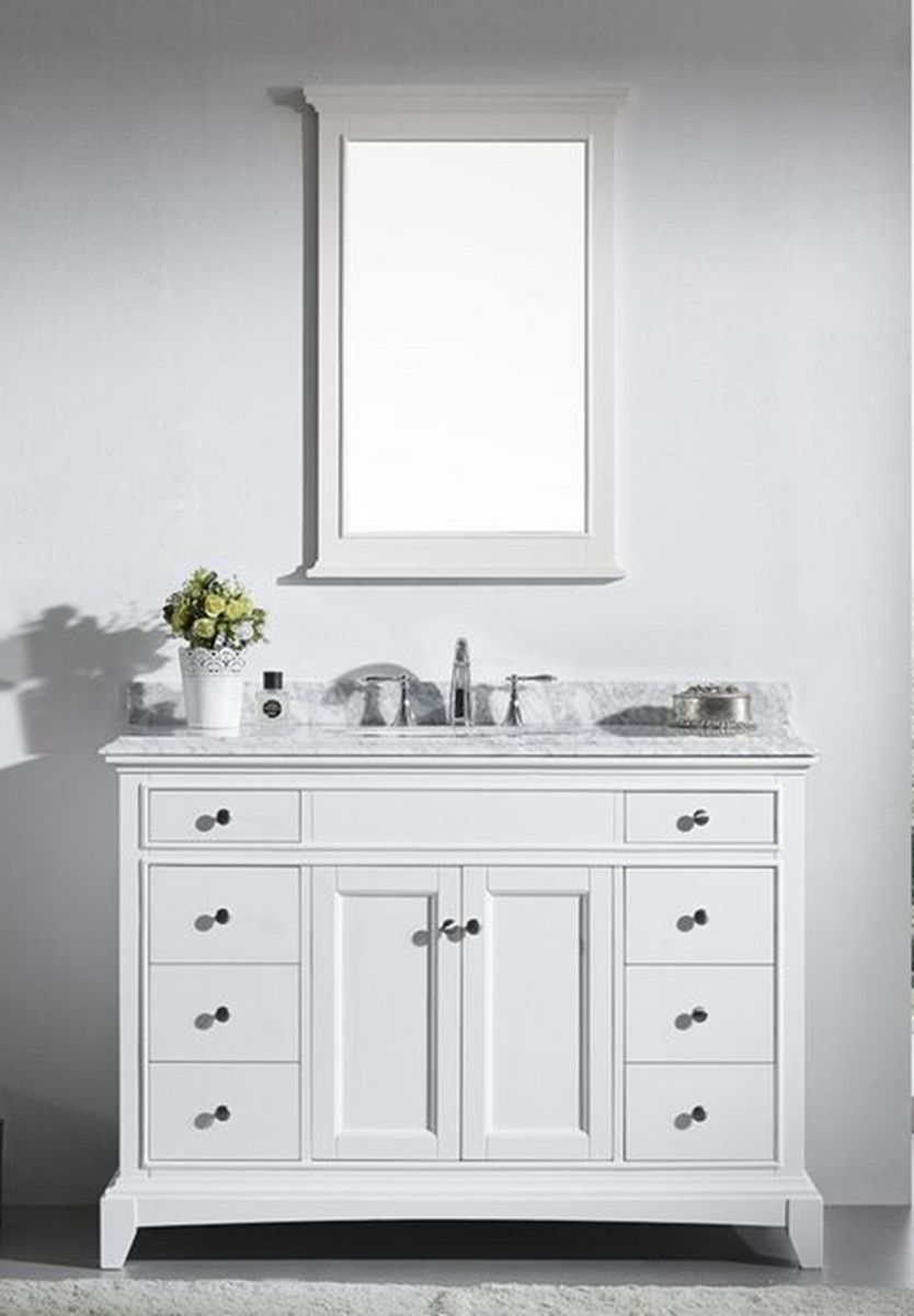 Eviva Elite Stamford 48 White Solid Wood Bathroom Vanity Set