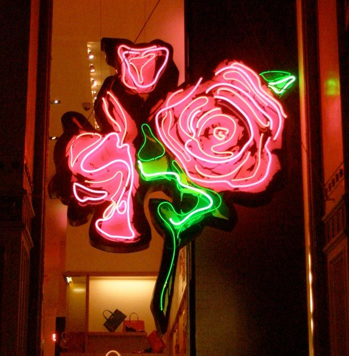 Steven Sprouse Neon roses detail for Louis Vuitton