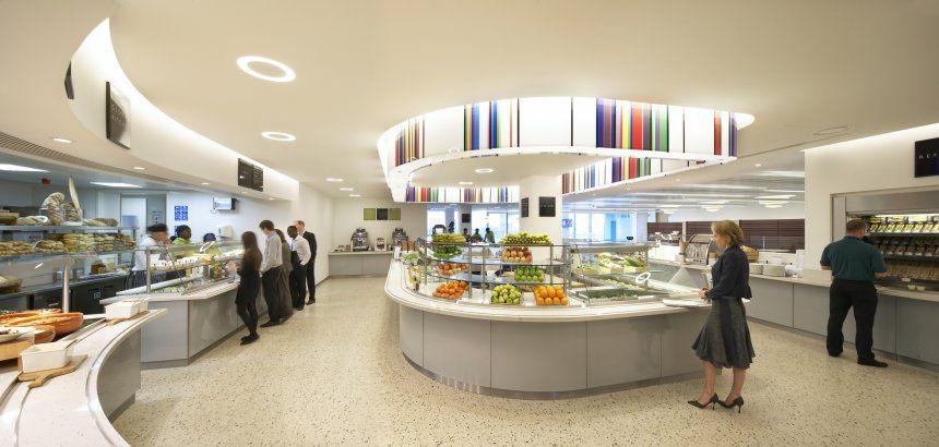 KPMG London Lighting design interior, Cafeteria design