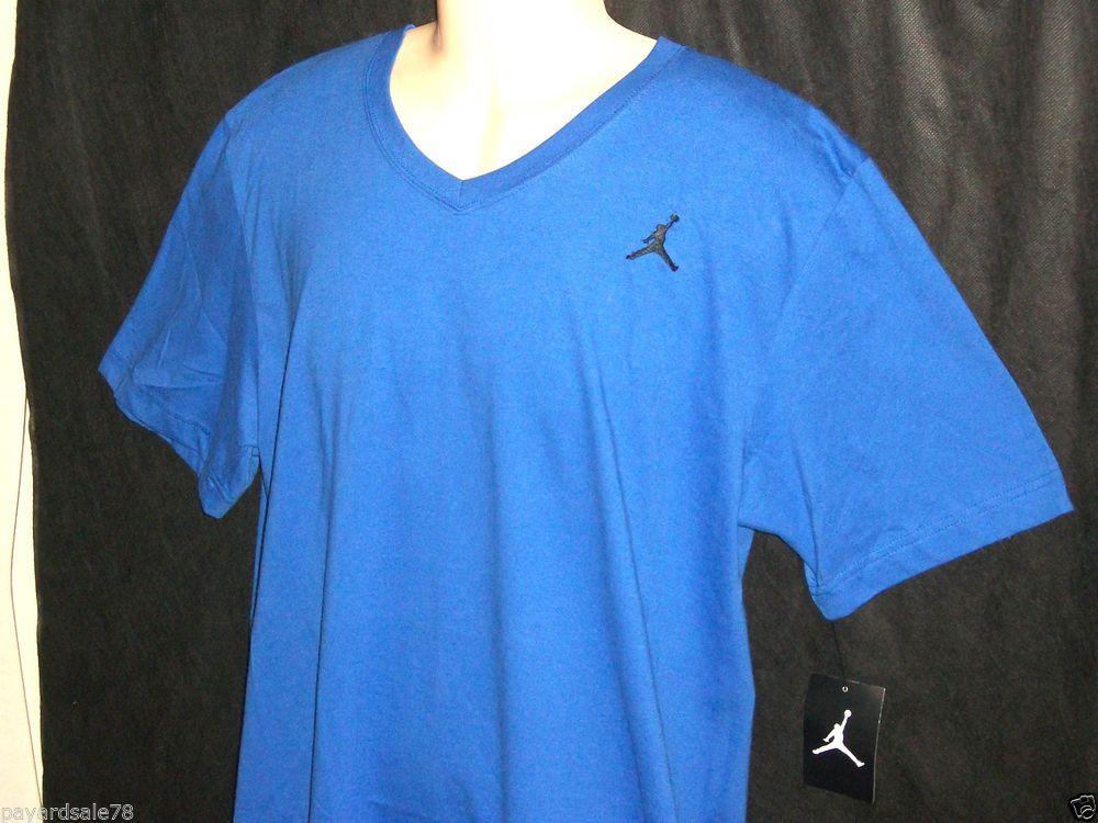 1f4f2e7e VERY RARE MEN'S SIZE XL NIKE JORDAN V-NECK T-SHIRT BLUE W/ BLACK TEE JUMPMAN