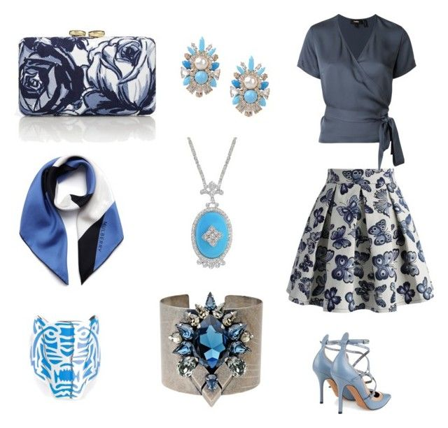 """Blue"" by gloria-yi-qiao on Polyvore featuring Chicwish, Theory, Talbots, Mulberry, Valentino, Kenzo, Shourouk and Persy"