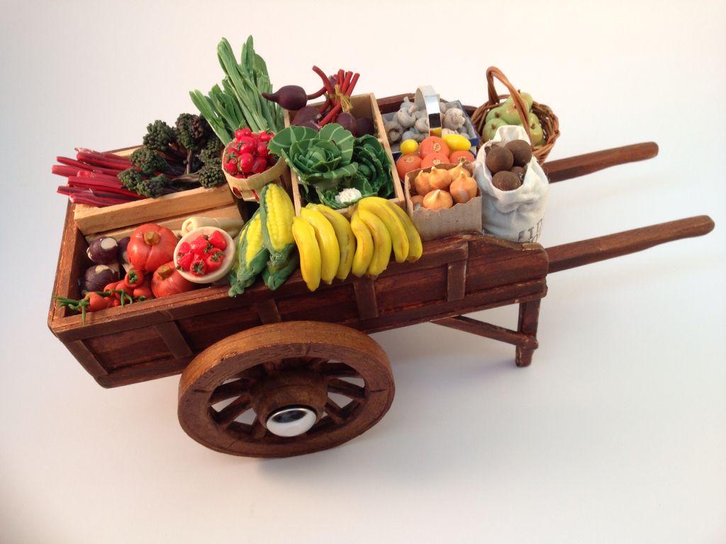 Fruit Vegetable Showcase Stalls Shelf Wood Shop Handcrafted Dollhouse Miniature