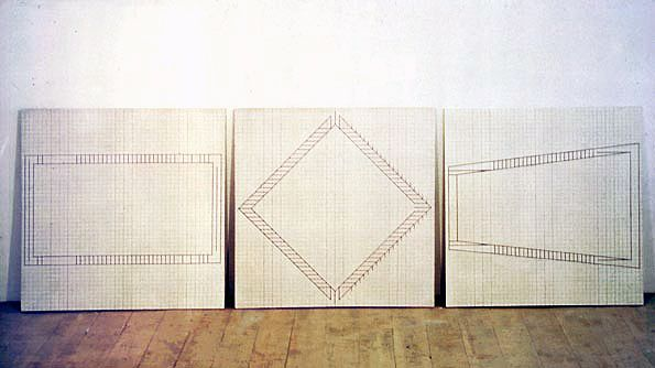 PRECEDENT. Jo Baer, Graph Paintings (1962 - 1963) oil on canvas - each 91.4 x 91.4.
