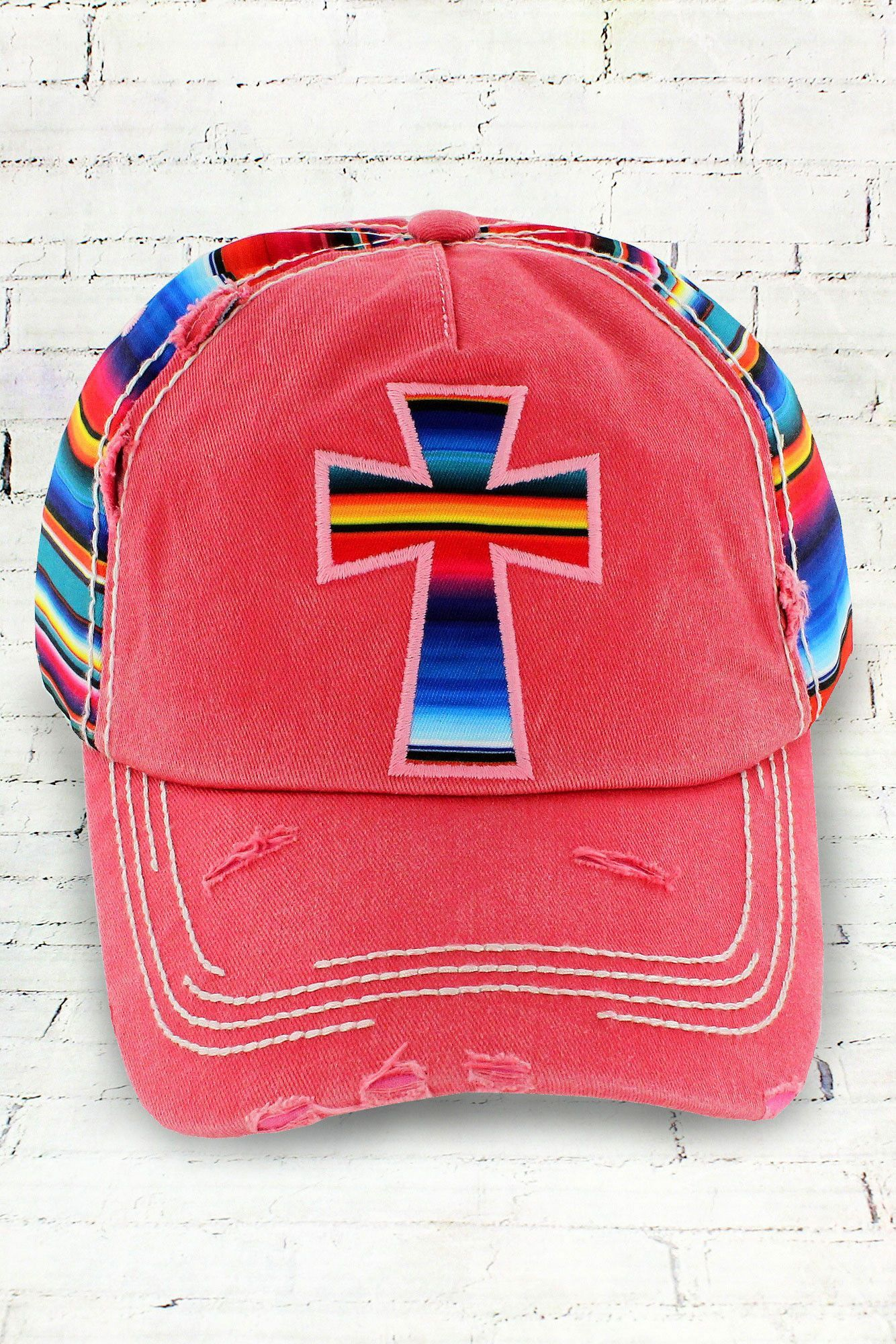 Distressed Salmon Serape Cross Cap #KBV-1074-SALMON