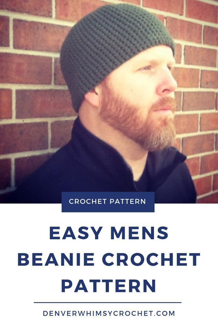 Crochet Pattern- Mens Easy Beanie Hat- Crochet Hat Pattern for Man- Easy Crochet Beanie Pattern for Man- Man Crochet Beanie Pattern #menscrochetedhats
