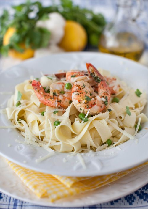 Shrimp with Lemon and Garlic Sauce over Pappardelle Pasta - Recipe link: http://www.melangery.com/2013/02/shrimp-with-lemon-garlic-sauce-over.html