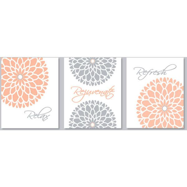 Grey Wall Decor Pinterest : Peach and gray wall art etsy liked on polyvore featuring