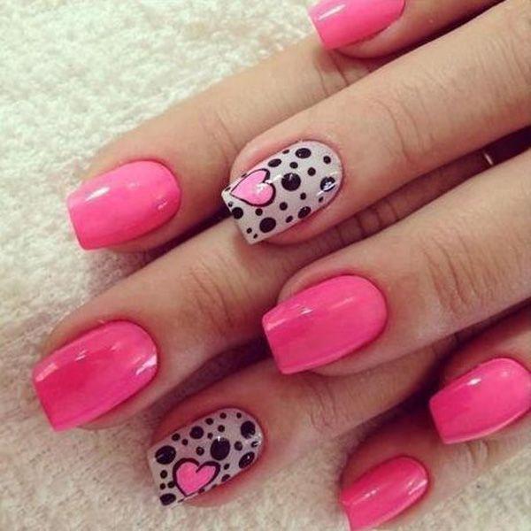 50 Pink Nail Art Designs Pinterest Black Polish Pink Nails And