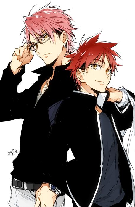 Shinomayasenpai and Somakun together Food wars, Anime