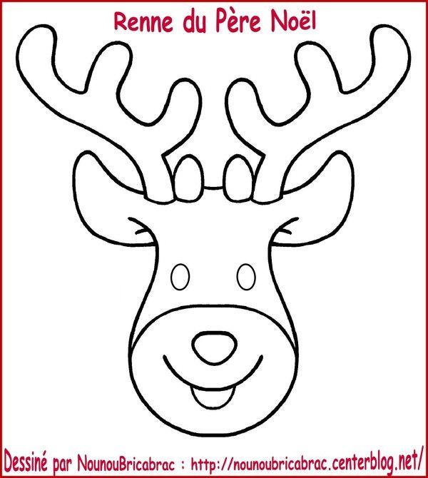 dessin renne de noel Tête du Renne du Père Noël à colorier et à fabriquer | kalıp  dessin renne de noel