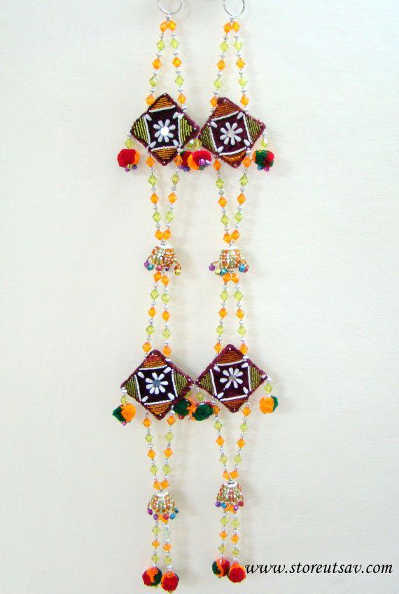 Door Hanging Designs rajasthani wall hangings Home Decor Indian Handicraft Beads Velvet Wall Hanging Or Door Hanging 2 Pieces