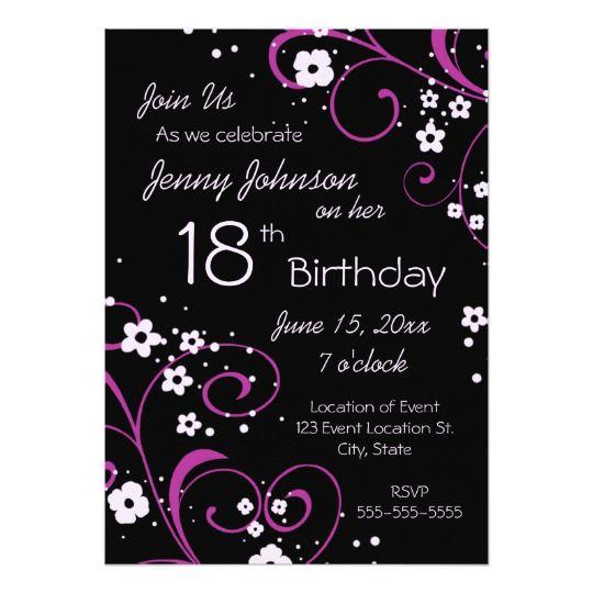 Pink Black 18th Birthday Party Invitation Card Zazzle Com 18th Birthday Party Birthday Party Invitations Dog Birthday Invitations