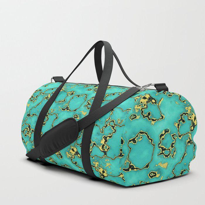 7fb6bb1458 Turquoie Gold Marble Green Mint Aqua Duffle Bag by C Ya Monday.  bag ...