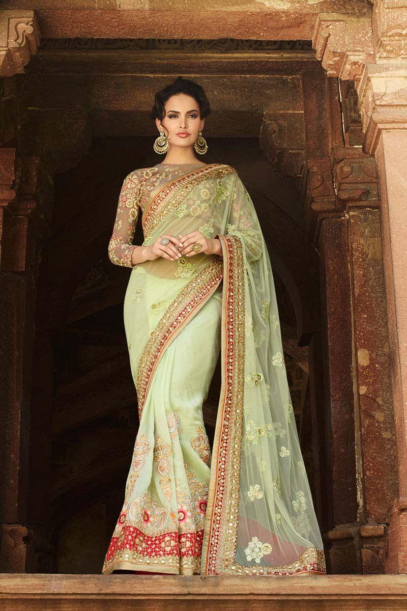 Net saree images green net wedding saree  sarees  pinterest  wedding sarees saree